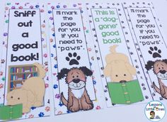 Dog themed bookmarks. Have a dog-gone great reading area & classroom. Printable dog decor and more.