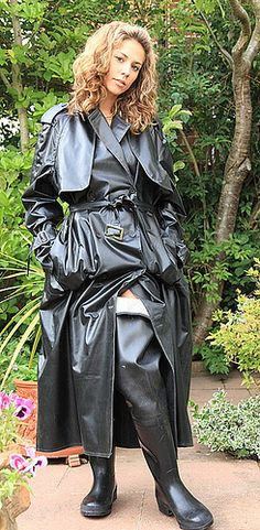 Black Rubber Raincoat & Black Rubber Waders
