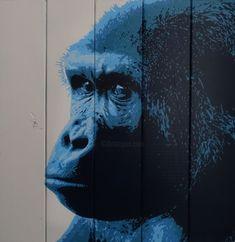 Gorille songeur (Peinture), 48x47,5x3 cm par Olivier CARPENT Pochoir entièrement découpé à la main & peint à la bombe aérosol (5 couleurs) sur bois (lattes de sommier)