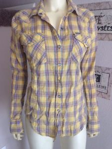 Hurley Western Top Snap on Yellow Plaid Sparkle Top M | eBay