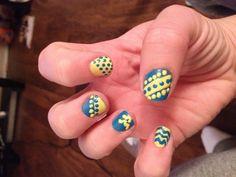 Wv nails nail art blue gold yellow wvu