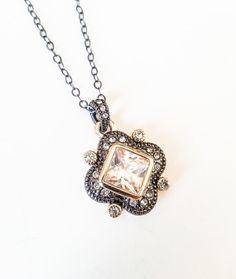 Gunmetal & Gold CZ Pendant Necklace