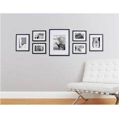 Turn an empty wall into a contemporary gallery space to showcase your most adorned moments with our 7 Piece Photo Frame Wall Gallery Kit. This kit includes seven sleek grey wood wall frames in varying sizes for an all-in-one design solution for any r Wall Frame Set, Frame Wall Collage, Picture Frame Sets, Wall Frame Layout, Picture Ledge, Picture Frames On Wall, Picture Mounts, Collage Walls, Living Room Ideas