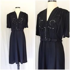 1930s Black Crepe Georgette Dress with Sequins  //   Vintage 30s black rayon crepe dress with sequins