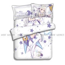 US $80.00 Re:Zero Starting Life in Another World Emilia Rem Ram Beatrice hot anime charming bedding set duvet cover bed sheet pillowcases. Aliexpress product