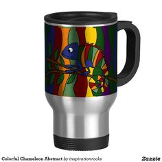 Colorful Chameleon Abstract 15 Oz Stainless Steel Travel Mug