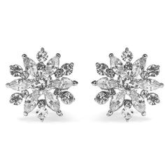 Kenneth Jay Lane Silver-tone crystal earrings found on Polyvore featuring jewelry, earrings, silver, clear jewelry, silvertone earrings, crystal jewelry, silver tone jewelry and clear crystal earrings