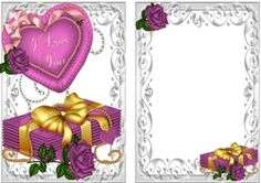 Love letters  pink rose and big fur heart I LOVE YOU cardfront insert on Craftsuprint - View Now!
