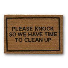 Please Knock Brown Coir Doormat - Clever Doormats - $29.99 - domino.com