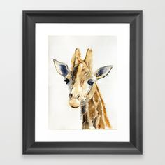 Giraffe by Melly Terpening #artfornursery #nurseryart #artforbaby'sroom #artforbabyroom #giraffepainting #cutegirrafe Choose from a variety of frame styles, colors and sizes to complement your favorite Society6 gallery, or fine art print - made ready to hang. Fine-crafted from solid woods, premium shatterproof acrylic protects the face of the art print, while an acid free dust cover on the back provides a custom finish. All framed art prints include wall hanging hardware.
