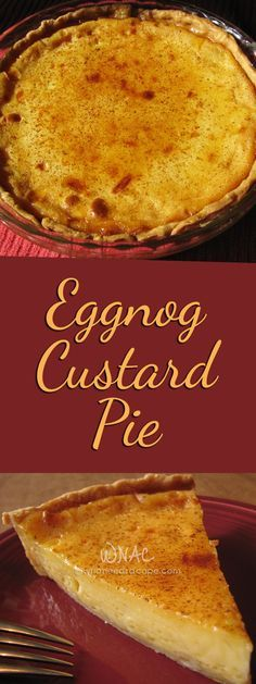Eggnog Custard Pie - Who Needs A Cape? - Betsy White - Eggnog Custard Pie - Who Needs A Cape? Eggnog Custard Pie a delicious holiday dessert that's perfect for Christmas. Holiday Pies, Holiday Desserts, Holiday Baking, Christmas Baking, Holiday Recipes, Pies For Christmas, Christmas Music, Pie Recipes, Sweet Recipes