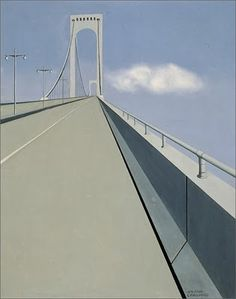 Whitestone Bridge, 1930s. Ralston Crawford  (1906–1978) was an American abstract painter, lithographer, and photographer., rawford was best known for his abstract representations of urban life and industry. His early work placed him with Precisionist artist. His later work became much more abstract.