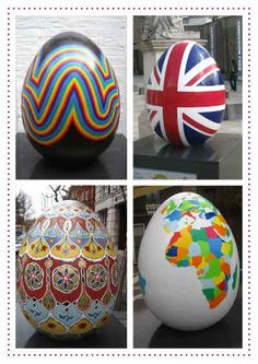 "LOVE this idea! The Faberge Big Egg Hunt London. 200 giant Easter eggs (each created by leading artists) scattered all around London. ""Collect"" using QR code"