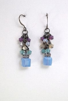 Opal Mix Crystal Cluster Earrings by TSDesignss on Etsy