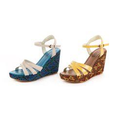 0-2506 TAS 異國夏日 交錯繫帶民族風編織楔型底涼鞋-亮麗黃 - Yahoo!奇摩購物中心