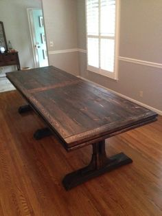This Listing Is For A 9ft Triple Pedestal Farmhouse Table. Done In Any  Color Of