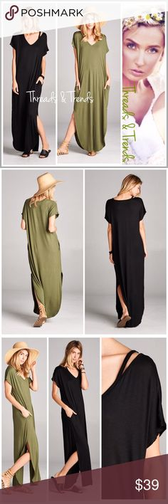 "Casual Comfort Maxi ShirtDress Popular trend this season. Casual comfy oversized maxi dresses embellished with pockets cut out strap detail. Color Olive and black. Made of rayon and spandex. Size S/M, M/L, L/XL black & white.                                        S/M  Bust 43"" Length 53.5""  M/L Bust 44"" Length 56  L/XL Bust 47"" Length 55.5"" embellished shirt dress Threads & Trends Dresses Maxi"