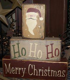 primitive christmas block sign