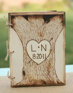engraved wood wedding guest book most def having at our wedding -kg Wood Burning Crafts, Wood Burning Patterns, Wood Burning Art, Wood Crafts, Rustic Wedding Guest Book, Wood Tree, 3d Prints, Wedding In The Woods, Here Comes The Bride