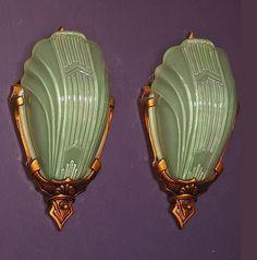 *vintage wall sconces w/ rare green slip shades