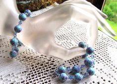 Beaded Stretch Bracelet in Poly Clay Beads, Swarovski Crystals and Glass Seed Beads by SaraJewelryDesign on Etsy