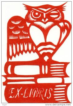 bookplate depicts winking owl standing on a stack of books, in unusual red on white colours