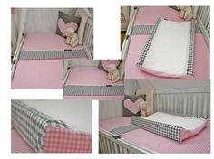 Zacht roze met donker grijs ledikantlaken ,hoeslaken, waskussenhoes en kussen voor onze kleine meisjes