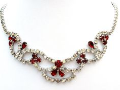 Rhinestone Necklace Red and Clear Vintage by TheJewelryLadysStore