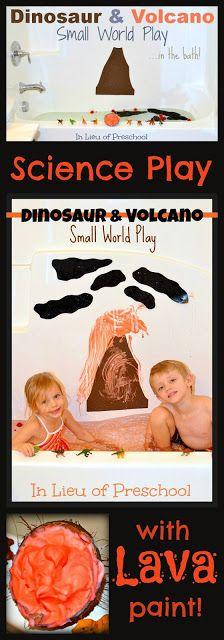 Dinosaur & Volcano Small World Play in the Bath - In Lieu of Preschool