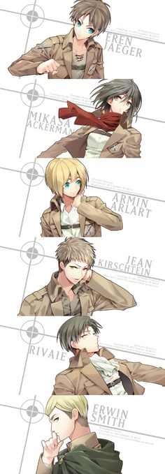 Attack on Titan Eren, Armin, Mikasa, Jean, Levi and Erwin