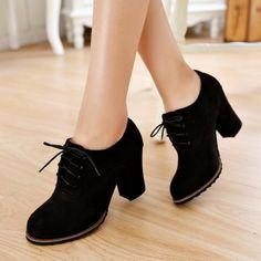 The faux suede construction makes these chunky-heel oxfords look modest but sophisticated. Color: Black, Materials: Polyurethane, Size: 34-39:  Heel: 8cm / 3.1…