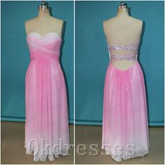 Open Back Ombre Prom Dress 2014,Pink Ombre Chiffon Sexy Prom Dresses,Backless Beadings Cheap Evening Prom Gown,Ombre Bridesmaid Dress From Okdresses