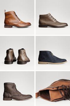 Leather men's lace-up boots by H&M. #HMMEN