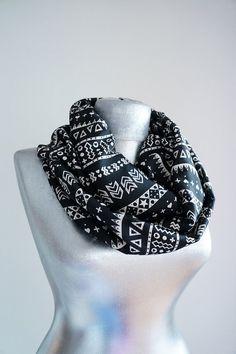 Scarf - Handmade Tribal Infinity Scarf - Chiffon - Black  White - Summer Spring Scarf on Etsy, $19.90