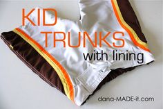 kid swim trunks, how to refashion men's swim trunks for kids, and where to find fabric