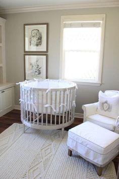 Gray Round Crib - French - nursery - Belmont Design Group