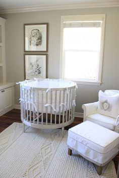 Gray Round Crib - French - nursery - Belmont Design Group