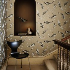 Shop for Wallpaper at Style Library: Koi by Harlequin. Painterly fish swim under rippling water on a wide-width wallpaper i. Koi Wallpaper, Wild Animal Wallpaper, Harlequin Wallpaper, Interior Wallpaper, Feature Wallpaper, Wallpaper Roll, Silver Sparkle Wallpaper, Art Nouveau, Fantastic Wallpapers