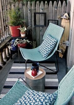Small Patio Decorating | House & Home Love these chairs.  The blue is so pretty