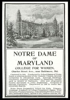 1904 Notre Dame of Maryland College for Women illustrated vintage print ad