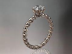 14k  rose gold diamond vine and leaf wedding by anjaysdesigns