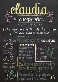 Natalicios y Recuerdos para Cumpleaños - To Remember the Birth and Birthday Bird Party, Dream Party, Typography, Lettering, Ideas Para Fiestas, Blackboards, Paper Cards, 30th Birthday, Chalkboard