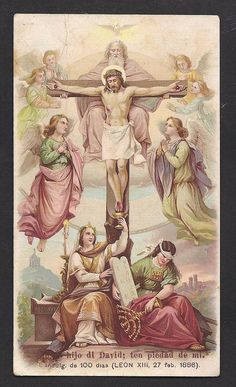 Antique Gorgeous Crucifixion Holy Card from by Divinegiftshop