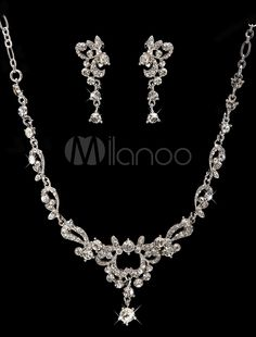 Silver Metal Rhinestone Heart Jewelry Set For Wedding - Milanoo.com