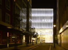 Squire and Partners won a limited competition to design this building, which functions as both a headquarters and an icon for the Reiss brand. The building Shop Facade, People Fall In Love, Facade Design, Architecture Design, Oxford Street, Environmental Graphics, Retail Space, Pent House, Inspiration