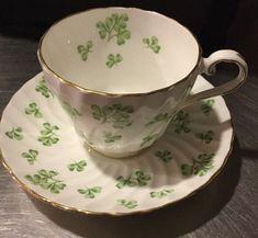 Aynsley White Bone China Swirl Tea Cup and Saucer Green Shamrocks Gold Trim | Pottery & Glass, Pottery & China, China & Dinnerware | eBay!