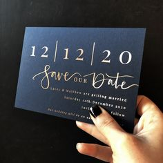 Big bold calligraphy and a prominent date make this unique save the date stand o.Big bold calligraphy and a prominent date make this unique save the date stand out. In a winter palette of rose gold an# Big Luxury Wedding Invitations, Wedding Stationary, Wedding Invitation Cards, Wedding Cards, Our Wedding, Destination Wedding, Wedding Planning, Wedding Favors, Gold Invitations