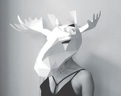 STUCK FOR A FANCY DRESS COSTUME? MAKE YOUR OWN HARE MASK FROM RECYCLED CARD  These plans enable you to create your own stunning 3D Low-Poly Hare Mask