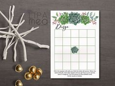 Bingo Game Printable, Succulent Bridal Shower Bingo Card, Boho Bridal Shower Games, Bridal Shower Bingo Game. Matching bridal shower games, invitation and cards at: lipamea.etsy.com