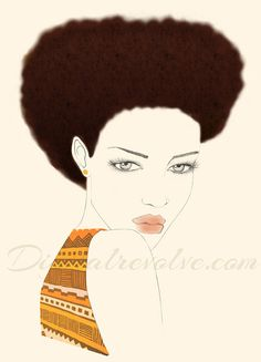 Fashion illustration - Afro styled hair with my sheek african print via Etsy